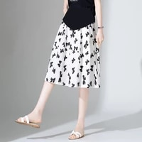 2017 summer korean fashion print chiffon maternity skirt elastic waist belly a line loose clothes for pregnant women pregnancy