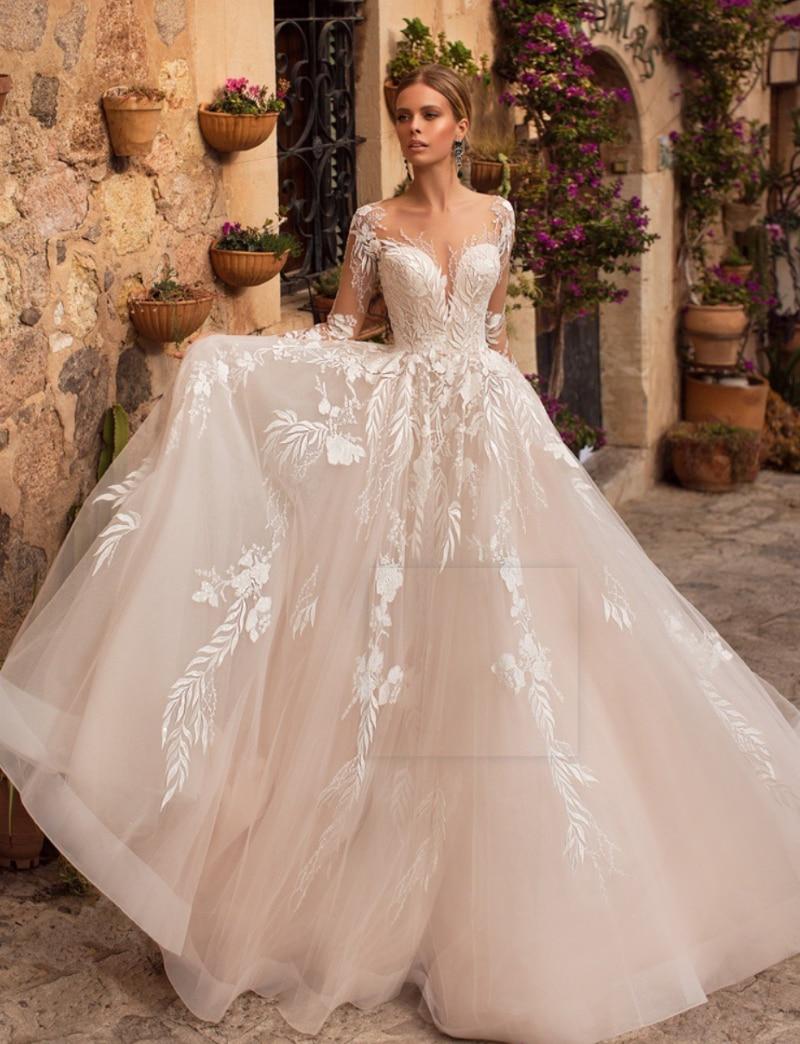 Vestidos de novia Vintage de encaje con escote redondo, espalda transparente, manga...
