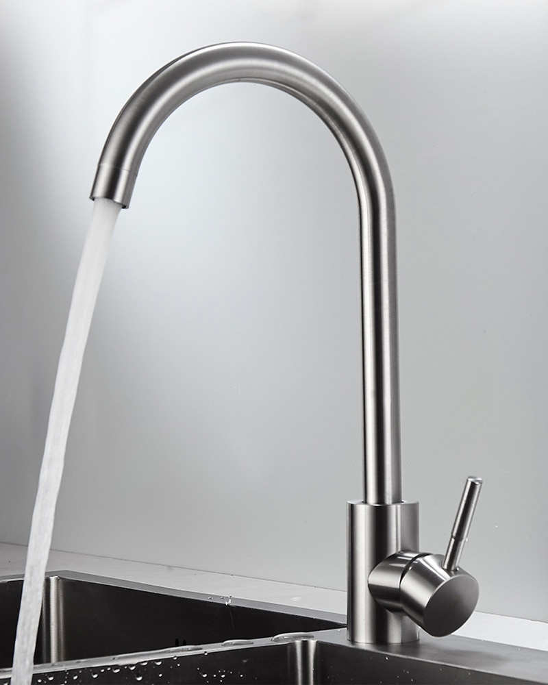 304 Stainless Steel Faucet Deck Mount Kitchen Tap Mixer Single Handle Sink Faucet brushed stainless steel pot filler faucet lead free with dual joint swing arm and aerator surface deck mount kitchen mixer tap