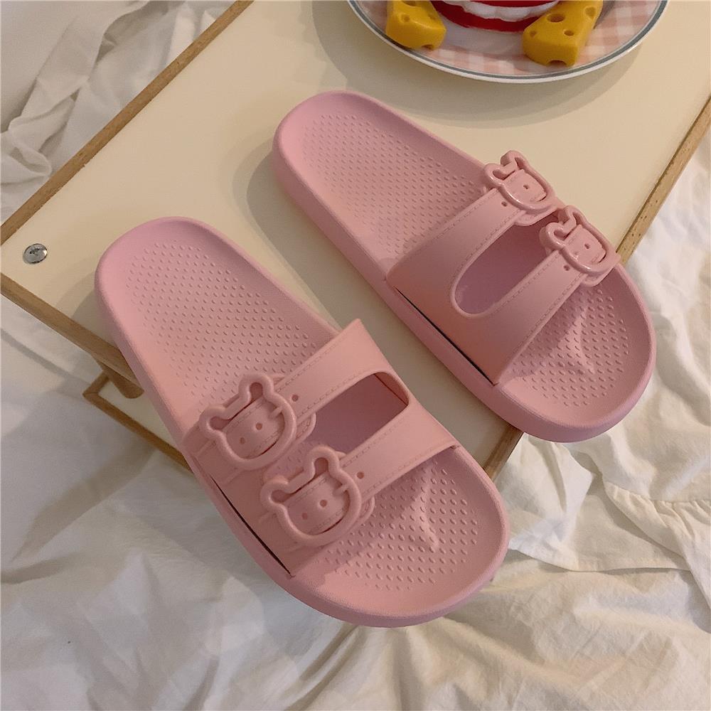 خف هوتشو للسيدات صندل نسائي مسطح وردي أحذية صيف 2021 أحذية أنمي كاواي للحمام غير رسمية جذابة