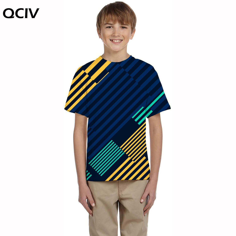 Брендовая футболка QCIV с геометрическим рисунком, детские футболки с 3d рисунком, красочные футболки, повседневная футболка в стиле Харадзюк...
