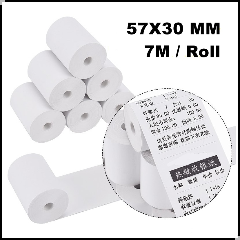 12 Roll Thermal Paper Label Paper Thermal Paper for Mobile Bluetooth Cash Registers POS Printer 57*30mm Mini Printer Accessories