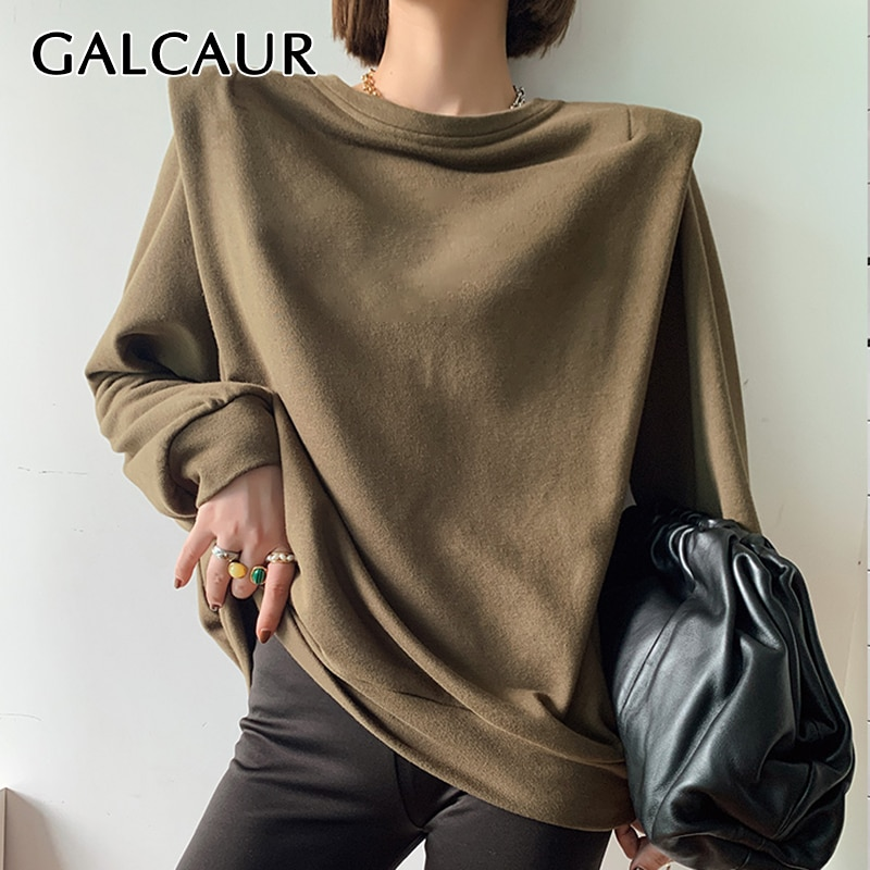 GALCAUR تطريز منصات الكتف بلوزة للنساء س الرقبة طويلة الأكمام عادية فضفاض الكورية البلوز الإناث 2020 خريف موضة جديدة