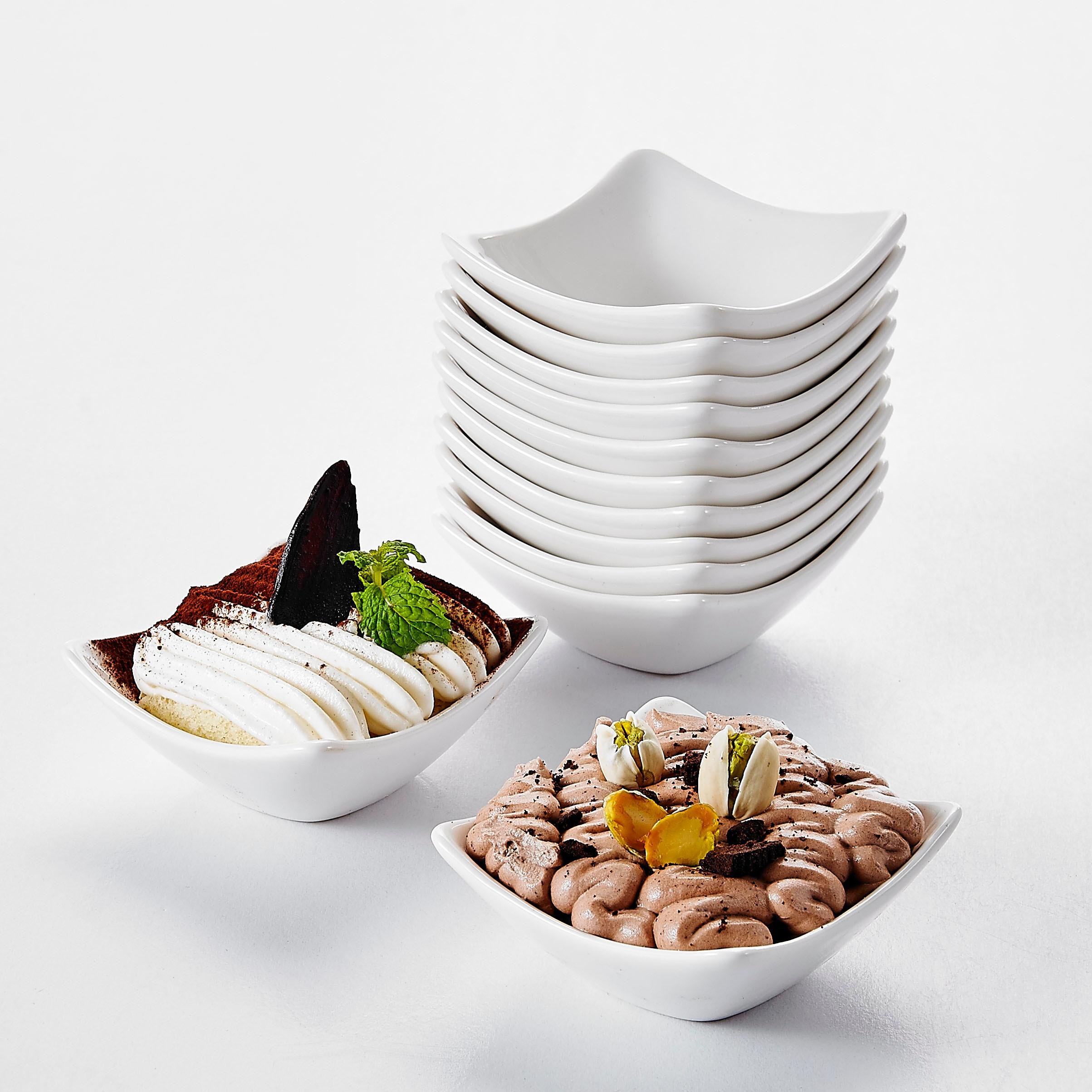 "MALACASA 12-pieza 3 ""de cerámica de porcelana postre desnudo tazón de crema de frutas platos ingredientes salsa plato para condimento Sushi Bowl"