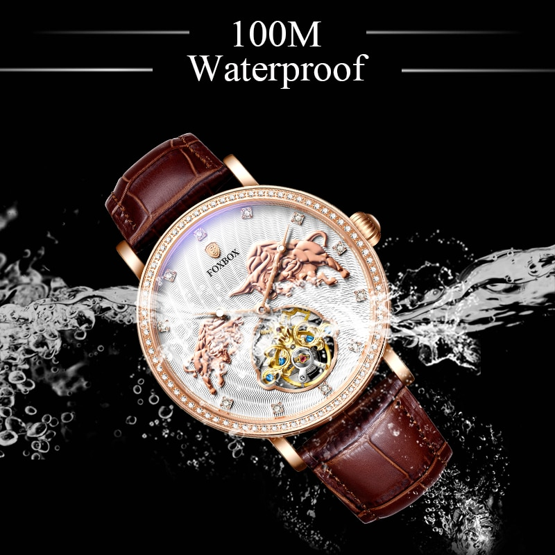 2021 New Mens Watches Mechanical Automatic FOXBOX Top Brand Luxury 100M Waterproof Tourbillon Creativity Leather Wristwatch Male enlarge