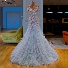 Design De mode longues robes De bal 2019 plumes arabes robes De soirée formelles Vestidos De Fiesta robe De Cocktail fête personnalisée