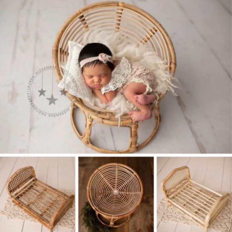 Newborn Photography Props Rattan Baskets Baby Photo Bed Posing Props Infant Photo Shoot  Accessories Baby Cany Beds Photoshot