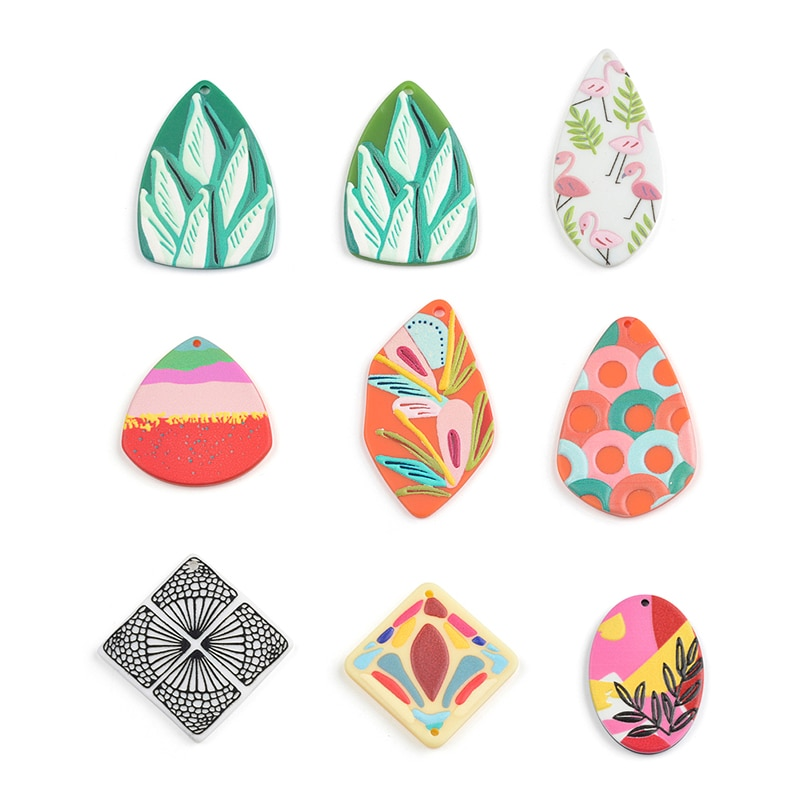 50PCS Leaf Unicorn Jewelry Accessories Hand Made Earrings Making Connectors DIY Pendant Jewelry Findings Components Charms