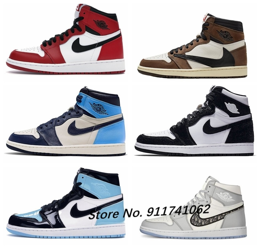2021 New Air 1 Men FileRecv AJ 1 Chicago Red Mid-Top Basketball Shoes Comfortable Size Women Size 36