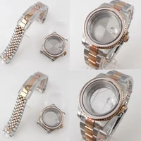 rose gold two tone 40mm watch case fit nh35a miyota 8215 eta 2836 seeingsolid back oysterjubilee strap sapphire glass