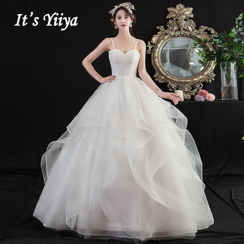 Wedding Dresses Plus Size Its Yiiya AR690 Elegant Tiered Pleat Gowns Strapless Vestidos De Novia Tulle Dress