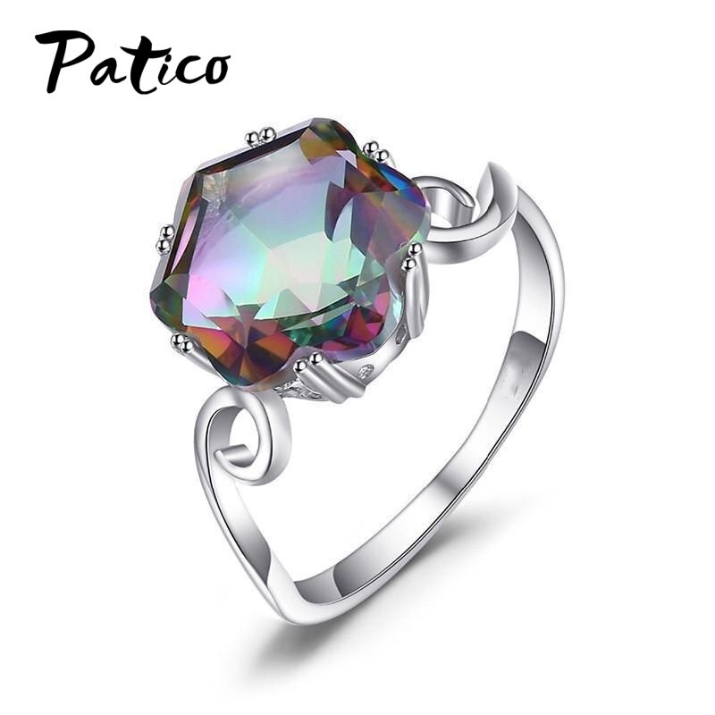 Authentic 925 Sterling Silver Dazzling Colorful CZ Finger Rings for Women Wedding Engagement Anniversary Jewelry anel authentic 925 sterling silver rings tiara wishbone ring for women engagement jewelry anniversary