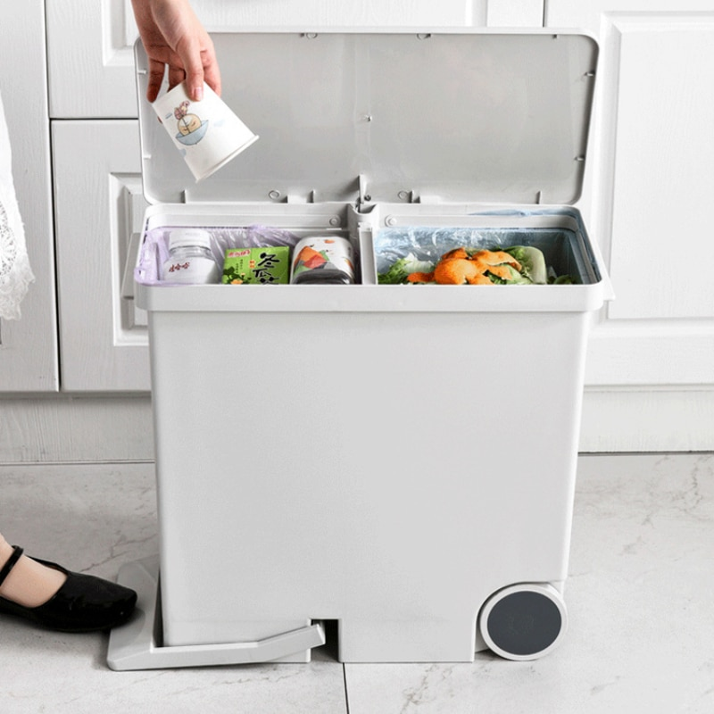 Nordic Creative Trash Can Luxury Kawaii Wet And Dry Sorted Waste Bin Kitchen Items Poubelle De Cuisine Cleaning Supplies BC50TB enlarge