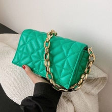 Designer Branded Solid Color Thick Chain Quilted Shoulder Bags for Women 2021 Summer New Fashion Pur