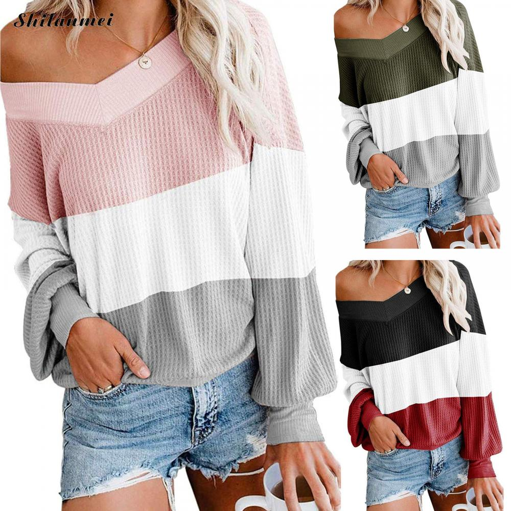 One Shoulder Autumn Oversized Sweater Women Striped Loose Knitted Women Sweaters 2020 New Long Sleeve Pullover Female Jumper Top black one shoulder long sleeves loose sweaters