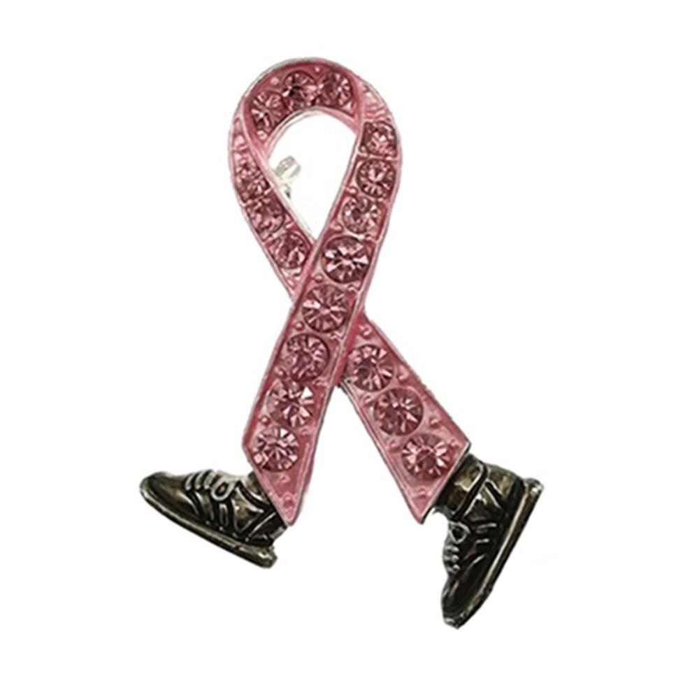 50 قطعة/الوحدة الوردي الشريط مجوهرات سرطان الثدي الوعي جميلة المشي الشريط حذاء بروش دبوس