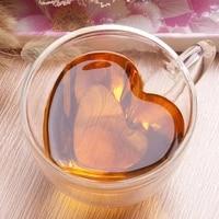mugs coffee cups drinkware juice wall glasses milk lemon tea double gifts creative love shaped resistant heart lover 1