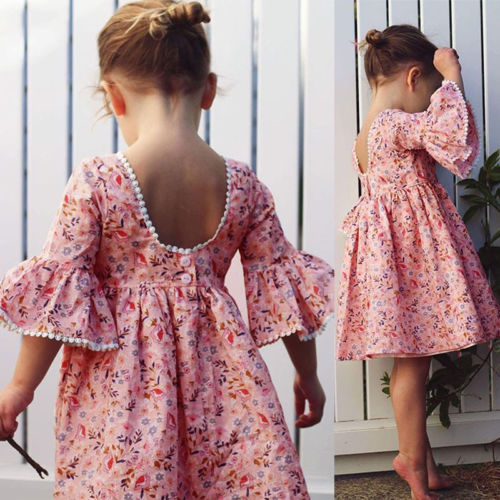 Cute Kid Girl Long Sleeve Floral Party Princess Dresses Girls Boho Pageant Dress