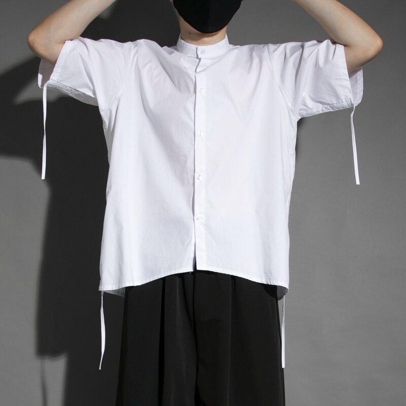 الرجال الوقوف طوق قصيرة الأكمام قميص الصيف ضئيلة موضة بسيطة شخصية التجاعيد الوقوف طوق قميص أبيض فضفاض