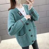 spring and autumn knitted cardigan jacket sweater female loose student jacket 2020 new korean lazy wind exterior