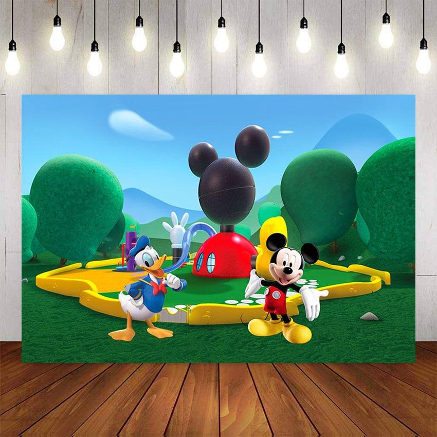 NeoBack fondo de fotografía personalizado Mickey Minnie Mouse verde Clubhouse Park fondo de estudio de fotografía telón de fondo de vinilo