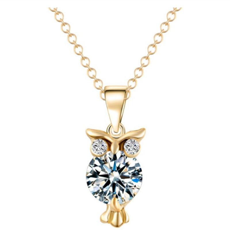 8 estações de moda ouro/prata cor coruja redonda strass pingentes colar para presentes festa casamento gargantilha clavícula jóias