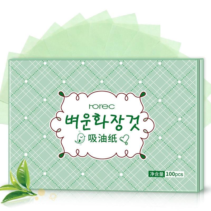 Портативная абсорбирующая бумага для лица, 100 шт., влажные салфетки для контроля жирности лица, впитывающий лист для зеленого чая, средство для очистки лица на лето