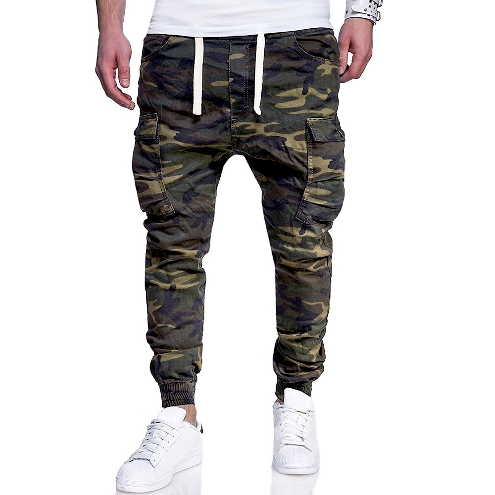 Men Camouflage Print Tethered Casual Long Pants 2021 New  Fashion Straight Pocket Army Green High Street Full Length Trouser D30