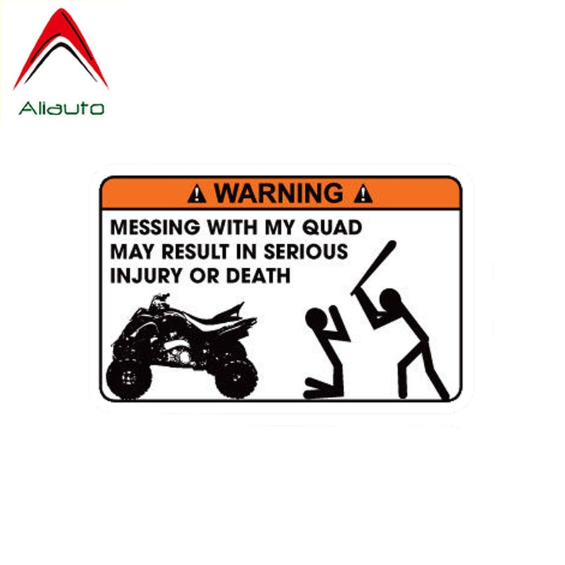 Aliauto, pegatina divertida que falta con mi Quad puede provocar lesiones graves o muerte, pegatina de vinilo de PVC para coche, 12cm * 8cm