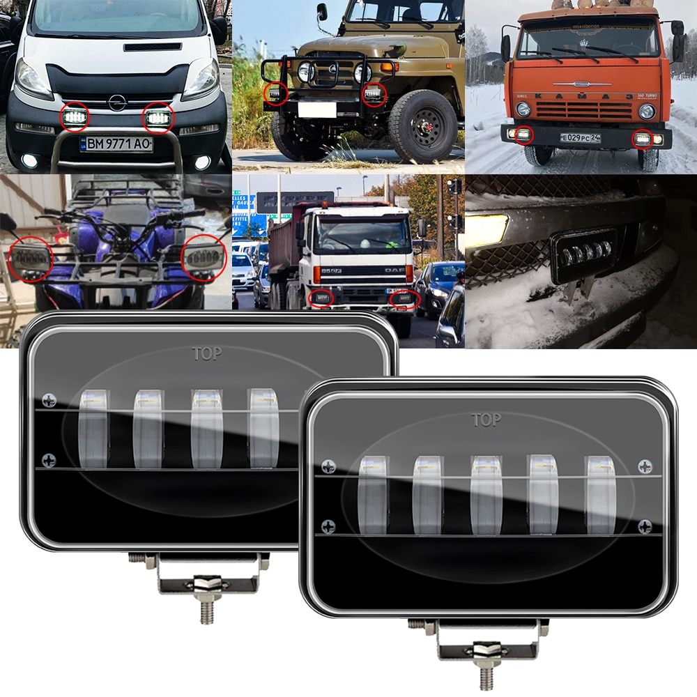 Barra de luz led de obra de 6 pulgadas 50W 12V 24V faro de motocicleta Lámpara de trabajo coche camión remolque lámpara LED para todoterreno SUV 4WD barco Tractor