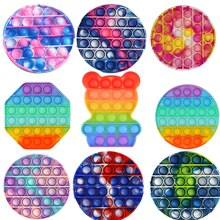 Tie Dye Fidget Anti-stress Popit Toys Push Bubble Sensory Pops Toy Autism Special Needs Decompressio