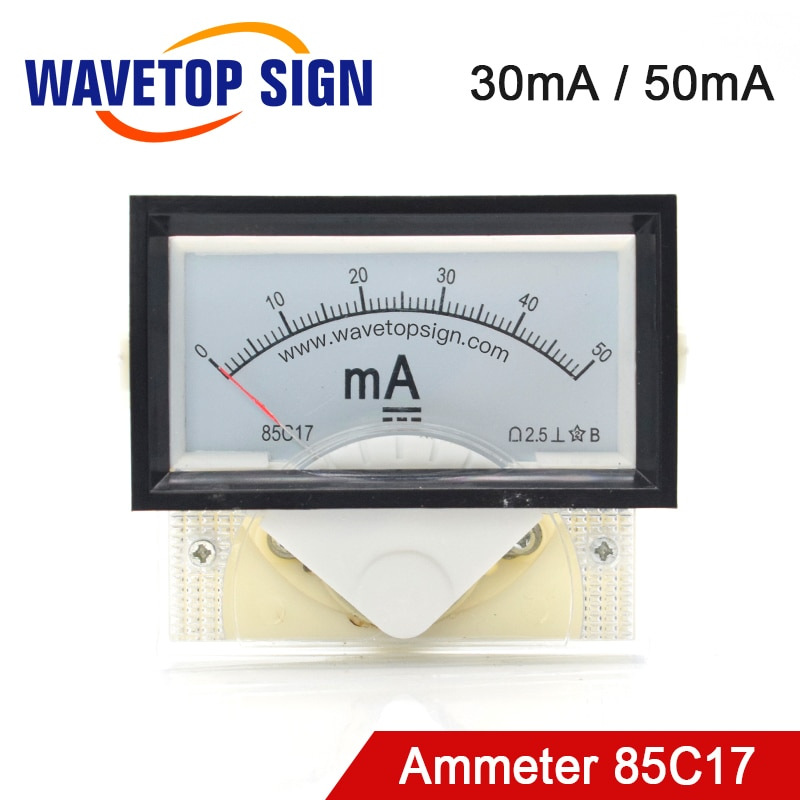 WaveTopSign amperímetro 30mA 50mA 100mA 85C17 analógico Panel de Medidor de amperios de corriente para CO2 láser máquina de grabado y corte