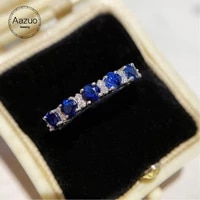 aazuo 18k white solid gold natural blue sapphire 0 60ct real diamonds fairy classic line ring for women senior banquet party