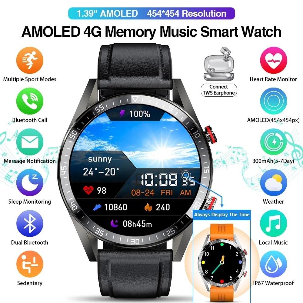 Promo Display Smart Watch 454*454 Smart Watch The Time Bluetooth Call Music Smartwatch For Men TWS Earphones