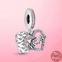 new 925 sterling silver beads heart mum zirconia dangle charm fit pandola bracelet 2021 women diy fine jewelry mother day gift