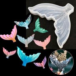 Diy cristal resina epóxi molde tridimensional grande fishtail molde espelho de silicone esmalte koi peixe molde