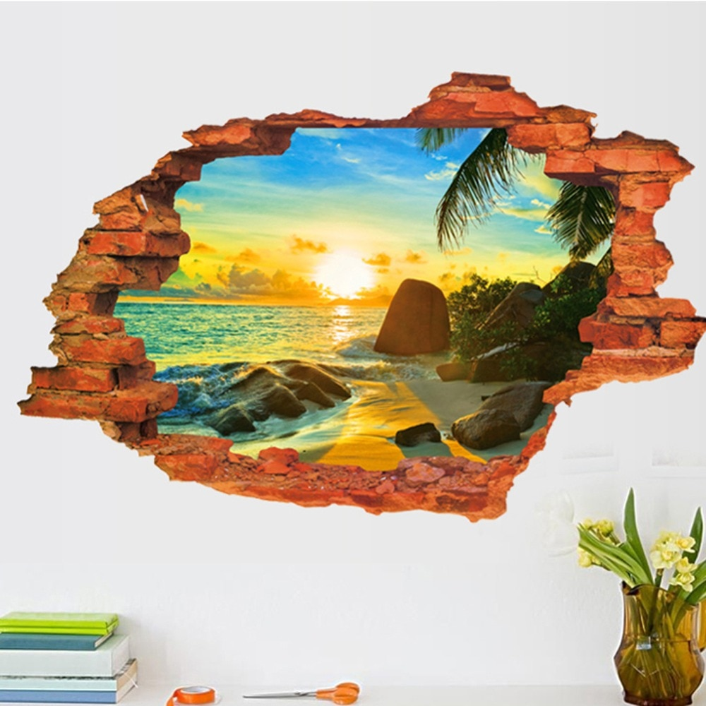 3D разбитые пейзажи закат пейзаж остров Настенная Наклейка гостиная спальня съемный фон украшение дома наклейки художественные наклейки s