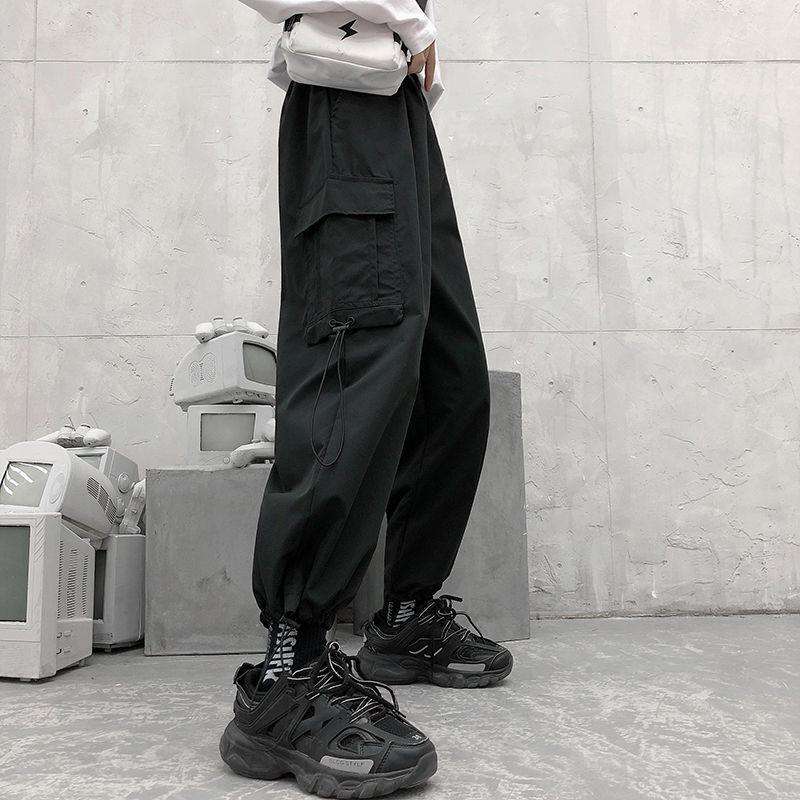 Cargo Pants Women Sweat Pants Korean Overalls WomanLoose BF High Waist Thin Wide Leg Pants Straight
