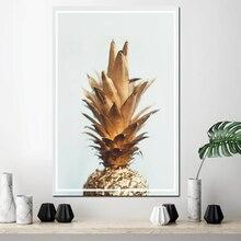 Toile peinture affiche modulaire photos mur Art ananas avec tête jaune et corps doré peinture chambre décoration de la maison