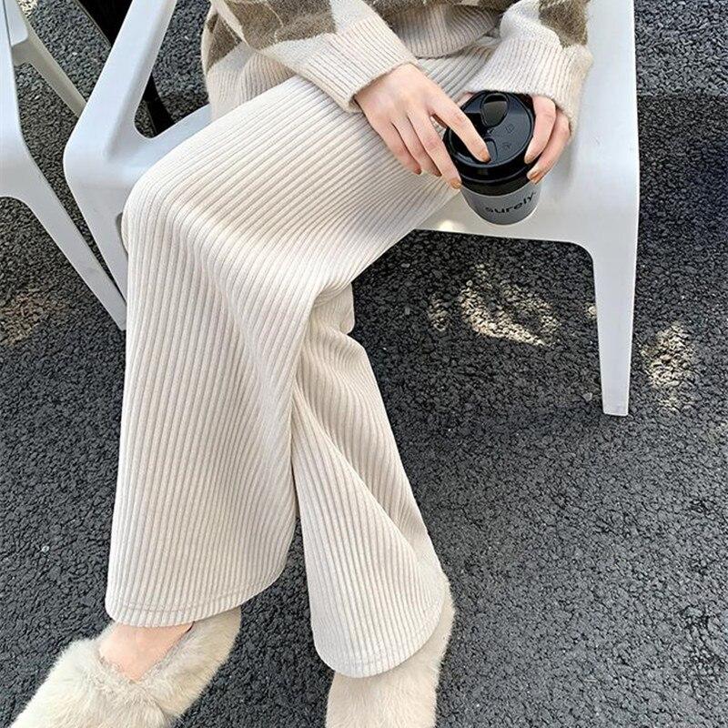HziriP OL élégant taille haute jambe large velours côtelé pantalon femmes 2021 nouveau grande taille décontracté ample pantalon droit femme pantalon