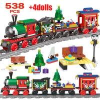 Creator City Christmas Train Railway Building Blocks Rail Train Transportation DIY Bricks Toys for Children
