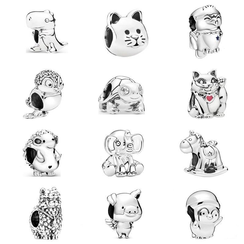 45 tipos de desenhos animados bonitos série animal cão coruja raposa porco contas caber original pandora encantos pulseiras feminino diy moda jóias presentes