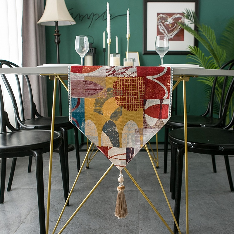 الجدول عداء الغزل مصبوغ اللون الحبر الشنيل كبير شرابة مفرش طاولة المنزلية البوليستر مفرش طاولة الجدول عداء الطازجة السرير العلم