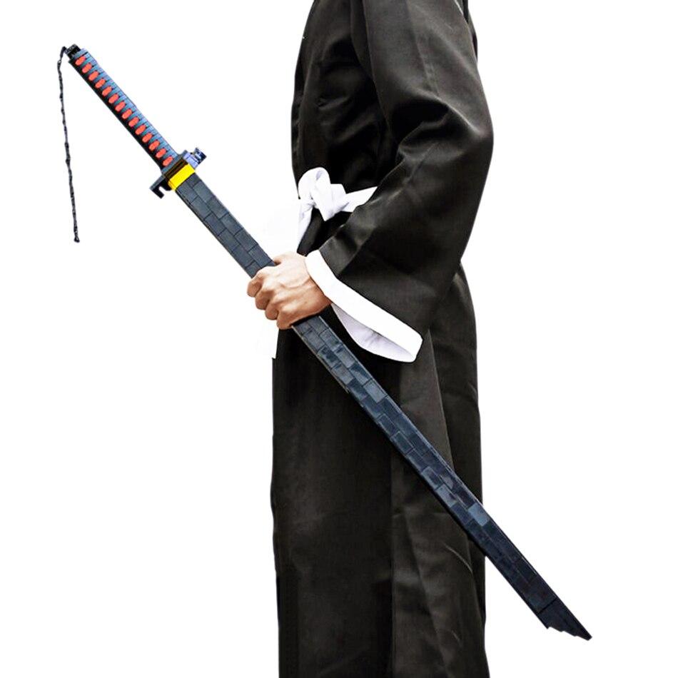 898 قطعة مدينة Coseplay السيف اللبنات بليتش Kurosaki Ichigo السماء قفل تبييض القمر السيف سلاح الطوب اللعب 135 سنتيمتر الطفل