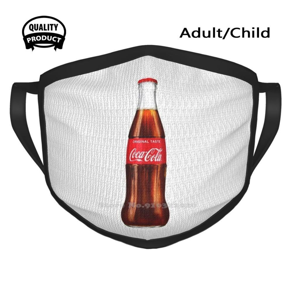 Mascarilla reutilizable con diseño de botella de Coca-Cola, botella de vidrio con...