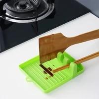 kitchen utensil tools non slip tidy cooking spoons pad holder fork rest spatula silicone spatula rack shelf organizer chopsticks