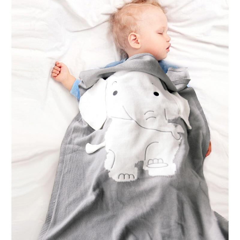Baby Swaddle Blanket Cartoon Elephant Stereo Ears Blanket Newborn Knitting Blanket Toddler Mat Cover Soft Quilts Infant Bedding