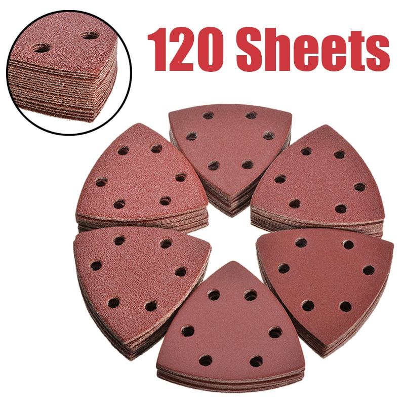 120Pcs Sanding Disc 40-240 Grit 6 Holes 93mm Triangle Delta Sanding Paper Hook Loop Sandpaper Disc Abrasive Tools