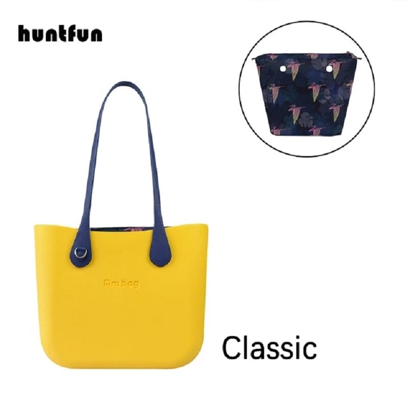 Big Ambag Obag O Bag Style DIY Classic EVA with Zip-Up Inner Lining Colorful Long PU Leather Handles
