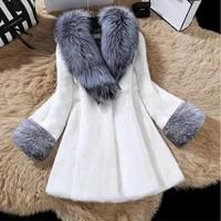 autumn winter fashion womens faux fur silver fox collars imitation mink fur coat large size ladies long sleeve fur collar coats